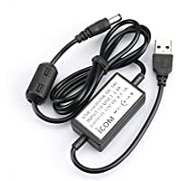InisIE Cable Cargador USB para ICOM IC-F21-F31 IC IC-F41 IC-IC-V8 T3H walkie Talkie Cable de Carga USB