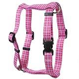 Hundegeschirr mit gelbem Hundemotiv, rosafarbenes Design, Adrett, kariert, rosa, Extra Small 8