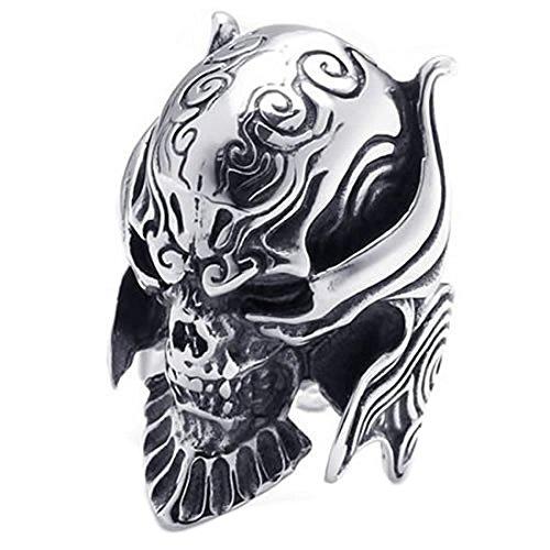 hombres Anillo gotico de craneo - TOOGOO(R) anillo de joyeria para hombre motorista, acero inoxidable, craneos goticos, negro + plata 11