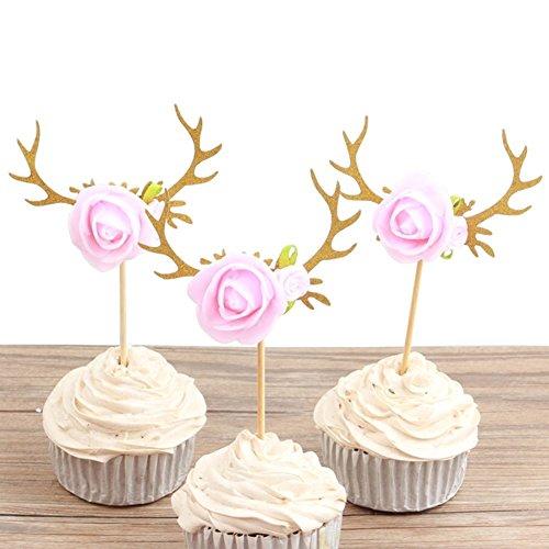 Astra Gourmet 10 Stück Rentier Geweih Blumen Cupcake Toppers Kuchen Picks Weihnachten Baby Dusche Geburtstag Party Dekoration