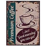 Decobay.eu Alte Reklame Werbetafel Blechschild Premium Coffee Vintage Retro Werbung Kaffee