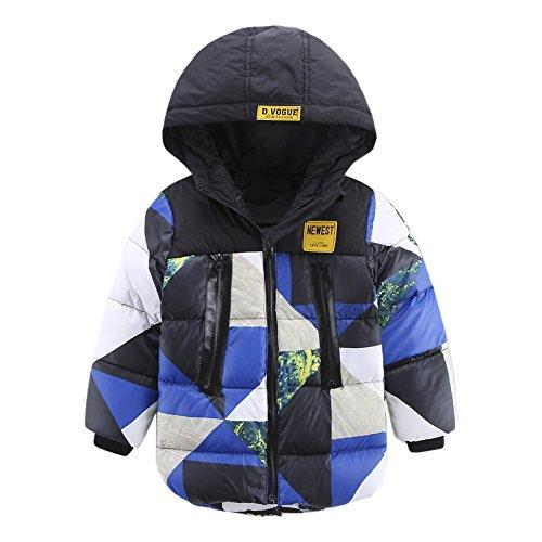 Dr.mama Winterjacke für Kinder camouflage Daunenjacke Jungen Mädchen Steppjacke mit Kapuze Daunenmantel Down Jacket Trenchcoat Outerwear