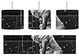 knieender Football-Spieler Kunst B&W inkl. Lampenfassung E27, Lampe mit Motivdruck, tolle Deckenlampe, Hängelampe, Pendelleuchte - Durchmesser 30cm - Dekoration mit Licht ideal für Wohnzimmer, Kinderzimmer, Schlafzimmer