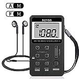 Radio Portable Mini Radio de Poche FM/AM Stéréo DSP Récepteur USB Rechargeable avec Ecouteurs, Radio Personnel pour Maison et...