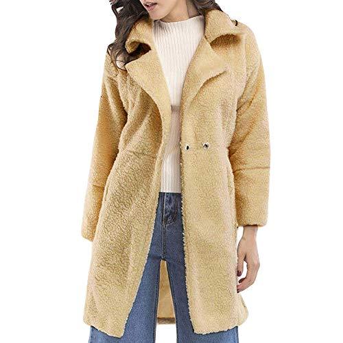 emmi pet iHENGH Damen Winter Jacke Dicker Warm Bequem Slim Parka Mantel Frauen Fashion Solid Langarm Lässig Stilvoll Reißverschluss Fluffy Lange Coat (L,Beige)