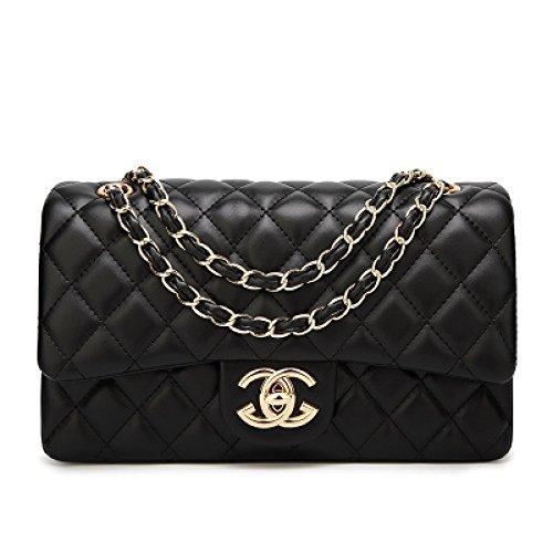2018 Baby Mode Frauen Karriere OL Handtasche Plaid Kette Tasche Umhängetasche Straße Taschen Classic Abendtasche,GoldChainWearBlack-26*16*8cm (Plaid Handtasche)