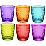 Bormioli Rocco Palatina Coloured Tumbler Glasses - 320ml (11oz) - Multi Coloured - Set of 6