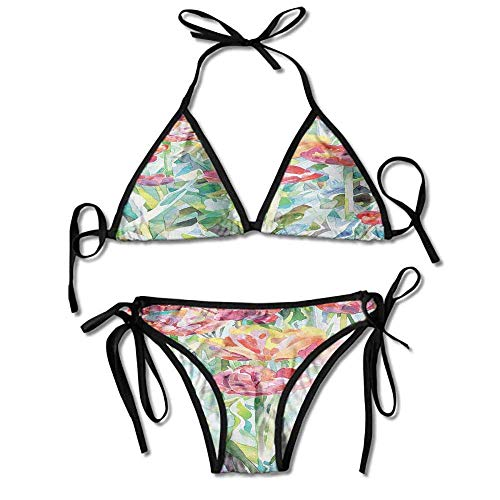 Women's printing bikini,flowers in faded colors sexy bikini 2 pieces