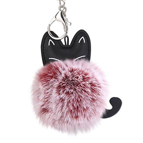Hevoiok Weiches Faux Pelz Ball PomPom Diamant Schlüsselanhänger Süße Katze Keychain Tasche Riemen Handtaschen Anhänger Keyfob Geschenk Herz Schlüssel Dekor (Wein Rot) -