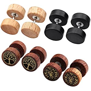 Zysta 4 Paare 1.2mm Sono Holz Ohrstecker Set Fake Herren Damen Ohrstecker Fake Tunnel Plug Cheater Illusion Baum des Lebens Tunnel Barbell Buchenholz Ebenholz Stud Ohrring Set
