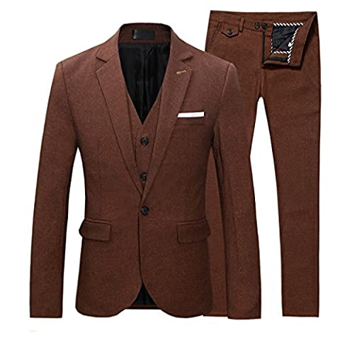 Men's Elegant Suits Slim Fit One Button Blazer Jacket & Vest & Trousers Set 3-Piece Wedding Prom Party