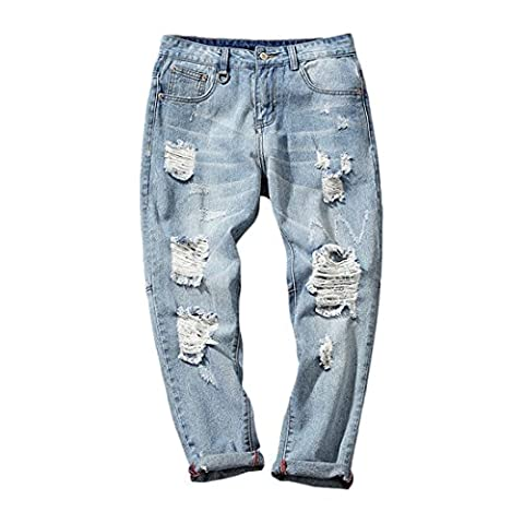 Hzcx Fashion Men's Destroyed Blue Denim Pants Zipper Brushed Jeans With Holes DSA022-GK17-50-BL-UK 40 TAG 40