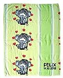Wolimbo Flausch Babydecke mit Ihrem Wunsch-Namen und Elefant mit Schlafmütze Motiv - personalisierte/individuelle Geschenke für Babys und Kinder zur Geburt, Taufe und Geburtstag - 75x100...