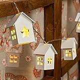 Catena a batteria 1m, 6 casette in legno con stella, led bianco caldo, luce fissa e flashing, luci per albero di Natale, decorazione natalizia
