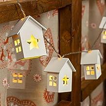 Guirlanda con 6 casitas de madera con estrellas, 1 m, a pilas, LED luz cálida, luz fija e intermitente, luces árbol de Navidad, decoración navideña