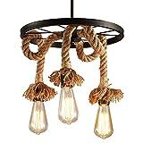 HJXDtech - Industrial Retro 3-Lichter Metall Flachs Seil Kronleuchter Loft Bar Decke Lampe Pastoral Antike Anhänger Beleuchtung