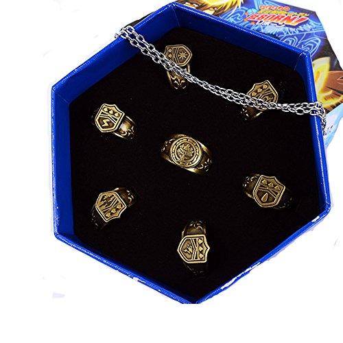 Preisvergleich Produktbild Cosplay Kostüm Ring Set Legierung Halskette Zubehör für Manga Kleidung Pendant Schmuck Gifts Kollektion Box