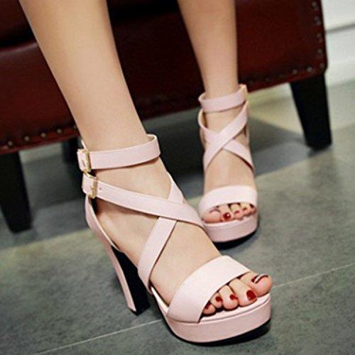 Open High Toe White Oasap Platform Cross Sandals Strap Women's Heels CwH6q7t