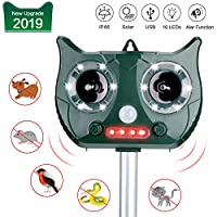 Bojafa Cat Repellent Ultrasonic Solar Power Cat Repeller Battery Powered Animal Repellent Outdoor for Badgers Fox Squirrels Wild Animals with Motion Sensor and Flashing Light - USB Rechargeable