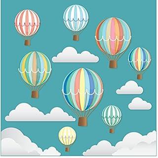 Wunderschöne dekorative Retro-Heißluftballons mit Wolken - Doppelseitig bedruckte Fensteraufkleber mit statischer Haftung - Kinderzimmer - Kinderbettzimmer - Kinderschlafzimmer