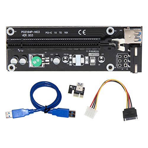 PCI-E 1X to 16X Express Mining Extender Riser Card Adapter with 50cm USB 3.0 Power Cable Test