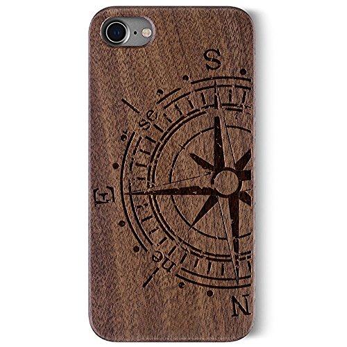 Coque Apple iPhone 7 , Coque pour iPhone 7 Bois Véritable + PC Bumper Dur Hard Housse Etui Hybride en Bois Naturel Sculpté Wood Case Cover de Protection pour iPhone 7 Walnut-compass