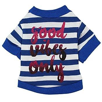 Chiens Textiles et Accessoires,Costume De Chiot T-Shirt en Coton à Rayures pour Chien pour Petit Chien,Chiens Sweats à Capuche (XS, Bleu)
