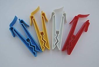 40 Stk. Sockenclips, Sockenklammern (je 10 Stk. rot / weiß / gelb / blau)