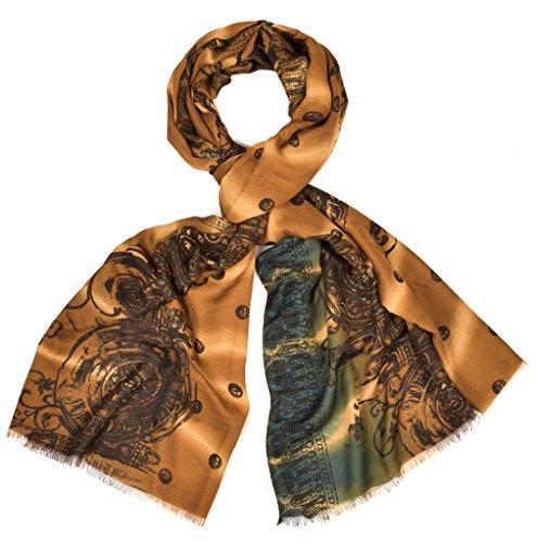 Intermoda Indischer Ornament Schal Hochwertig I edles Paisley Ornament Muster I mit Punkten und feinen Fransen I Oversized l Hals Tuch Gold Kupfer