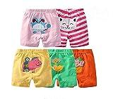 Monvecle Bambine 5pcs Neonato per Bambini Estate in Cotone Cartone Animato Pantaloncini Regalo Set 3M