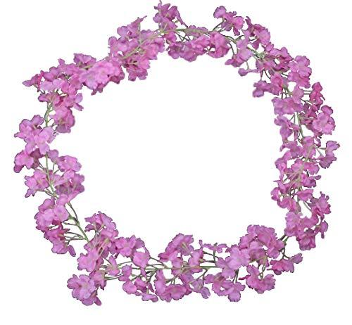 BlueXP 2 Stück180cm Künstliche Girlande Vines Künstliche Kirschblüten Blumengirlande Simulation Sakura Blumen Rattan Vine Home Garten Hochzeit Party Hochzeit Dekor Wandbehang Garland Kranz Lila