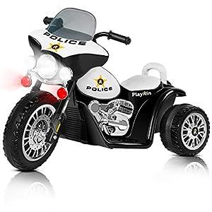 Playkin Police - Moto eléctrica de policía para niños (batería 6V)