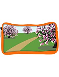 Snoogg Eco Friendly Canvas Abstract Illustration Of A Background With Trees Student Pen Pencil Case Coin Purse...