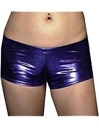 Kid 's/de los niños metálico efecto mojado PVC grasa Hotpants pantalones cortos Fancy Dress Dance