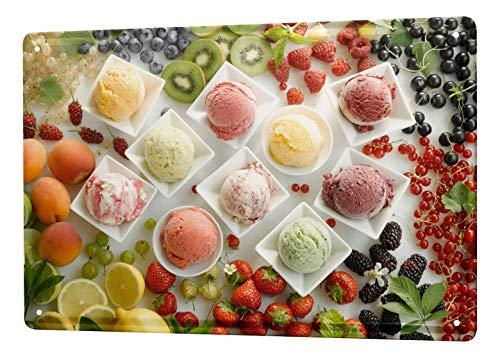 Eeypy Blechschild Retro Wandschild Ice Cream Scoops Blechschild 20x30cm 20 Ice Cream Scoop