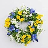Künstlicher Frühlingskranz FILIPPA mit Narzisse, Hyazinthen, gelb-blau, Ø 30 cm - Kunst Kranz / Deko Kranz - artplants
