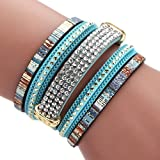 Mehrlagiges, geflochtenes Damenarmband mit Perlen und Magnetverschluss im b�hmischer Stil, von Hand gefertigt, von Mingfa.y, blau, 20*3.8cm Bild
