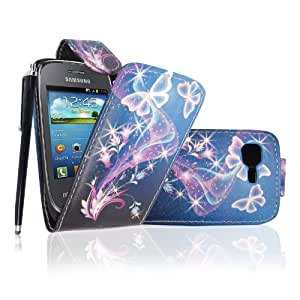 For Samsung Galaxy Pocket Neo S5310 Ultra Butterfly Style 7 Printed Pouch PU Leather Magnetic Flip Case Cover + Stylus + Guard