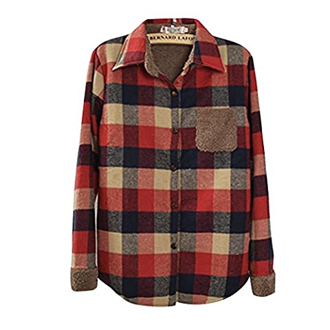 Eleery Women Button Down Casual Lapel Thick Shirt Plaid Flannel