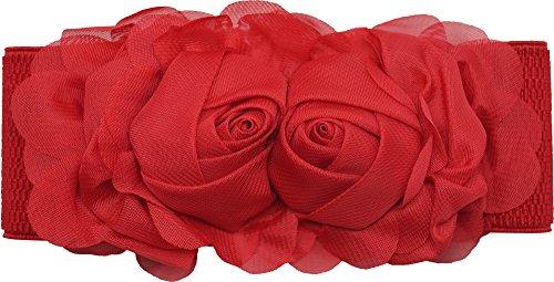 Meta-U - Cinturón ancho elástico con flores para mujer rojo rosso Talla  única c61ad078740e