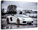 weißer Lamborghini Aventador , Format:100x70 cm, Bild auf Leinwand bespannt, riesige XXL Bilder komplett und fertig gerahmt mit Keilrahmen, Kunstdruck auf Wand Bild mit Rahmen, günstiger als Gemälde oder Bild, kein Poster oder Plakat
