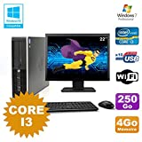Pack PC HP Compaq 6200 Pro SFF Core i3 3.1GHz 4GB 250GB DVD WIFI W7 + Bildschirm 22