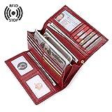 Geldbörse Damen Leder RFID Geldbörse Brieftasche Lang Handy Geldbeutel Frauen Rot