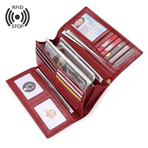 Carteras Mujer Piel Monederos de Mujer RFID Bloqueador Billeteras Larga Cartera para Mujer con Gran Capacidad