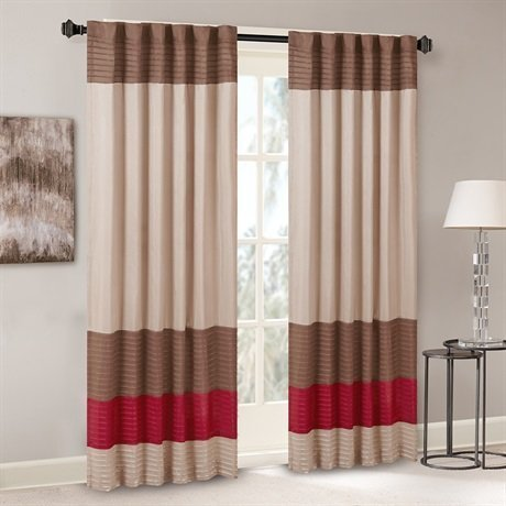 Madison Park Tradewinds Polyoni Pintuck Window Curtain Red 84 Panel by Madison Park -