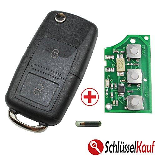 Schlüsselgehäuse Funk Fernbedienung Gehäuse Klapp Schlüssel 1J0959753AG 434 MHz Golf Polo Passat Sender Platine Ersatz Autoschlüssel Neu passend für VW Volkswagen Seat Skoda