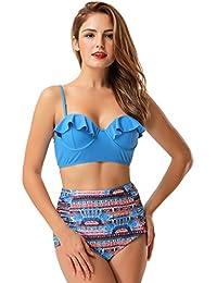 KamiraCoco Femmes Vintage Polka Dot Taille Haute Maillot de Bain Sexy Bikini  Set addf389931a