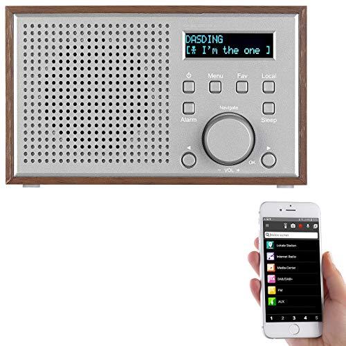 auvisio WLAN Radio: WLAN-Internetradio mit Holzdesign-Gehäuse, 2 Weckzeiten & App, 10 Watt (Radio Internet)