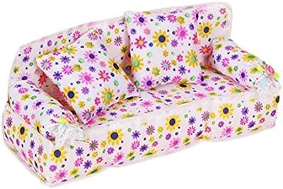 Mueble Sofá Hecha con Tela Floral para Casa de Muñecas