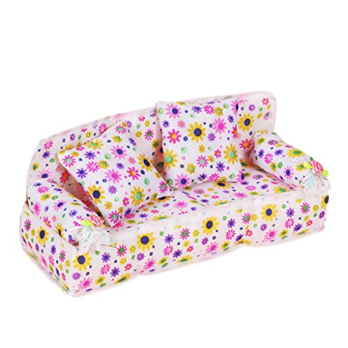 Preisvergleich Produktbild ETHAHE 20 x 7.5 x 8cm Weiß Hintergrund Bunt Blumen Aufdruck Couch/Sofa Für Barbie Miniatur Möbel+ 2 Stück 6 x 6cm Kissen